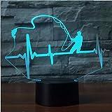 Illusion 3D Herzschlag Form Tischlampe LED Nachtlicht 7 Farben Ändern kreative Angeln Enthusiasten Lampe Touch Switch Kinder Geschenk