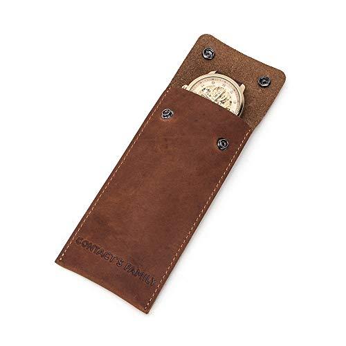 Contacts 100% piel auténtica caja de reloj bolsa de almacenamiento doble botón...
