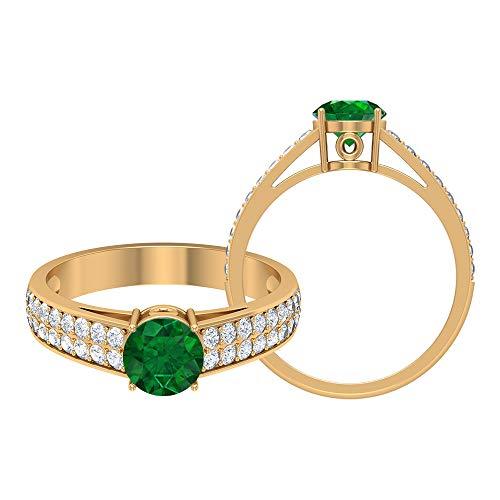 Anillo de oro solitario, 1,36 quilates, piedras preciosas redondas, D-VSSI Moissanite 6 mm creado en laboratorio, anillo de compromiso de esmeralda, 14K Oro amarillo, Size:EU 59