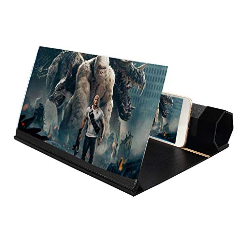 TanexBo Telefon-Bildschirmlupe Zoomt 2-6 mal, 12-Zoll-3D-Bildschirmverstärker-Vergrößerer mit Strahlenschutz, tragbarer Home Cinema-Handyverstärker für alle Smartphones (Schwarz)