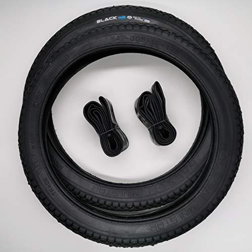 BLACK 2x16 Zoll City Reifen + AV Schläuche Decke Mantel Fahrrad Klapprad Anhänger 16x1.75 | ETRTO 47-305 mit 1mm Pannenschutz