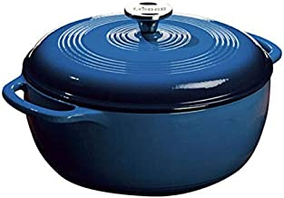 Lodge 6 Quart Enameled Cast Iron Dutch Oven. Blue Enamel Dutch Oven (Blue)
