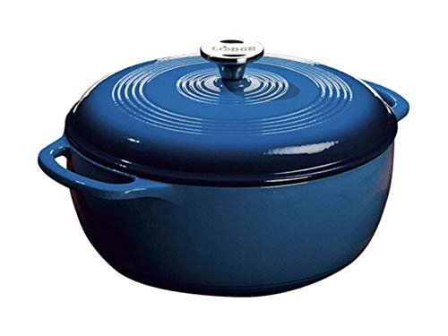 Lodge 6 Quart Enameled Cast Iron Dutch Oven (Blue)