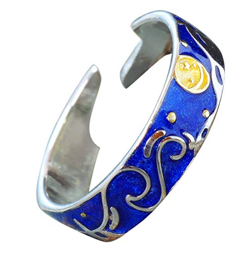 NicoWerk Damen Silberring Sternennacht aus 925 Sterling Silber Starry Night Blau Stern Mond Verstellbar Offen SRI554