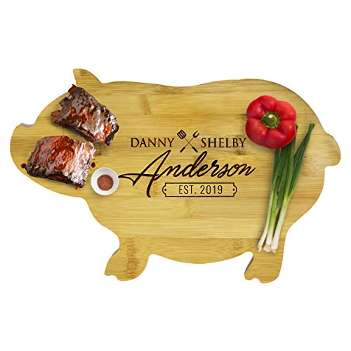 Animal Shaped Bamboo Cutting Boards - Fish, Cow, Pig, Chicken - Personalized Custom Engraved and Monogrammed for Free