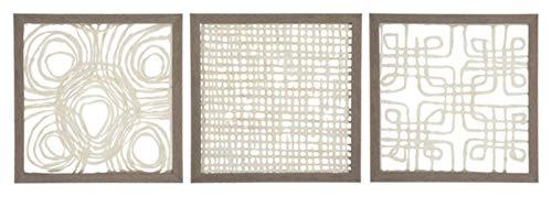 Ashley Furniture Signature Design - Odella Paper Canvas Wall Decor - Set of Three - Contemporary - Cream/Taupe