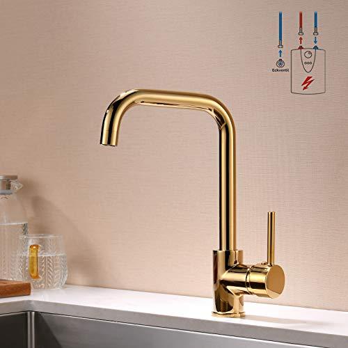 QD Niederdruck Wasserhahn Küche Gold Spültischarmatur Armatur Kueche Küchenarmatur Einhandmischer für Küchen Spüle