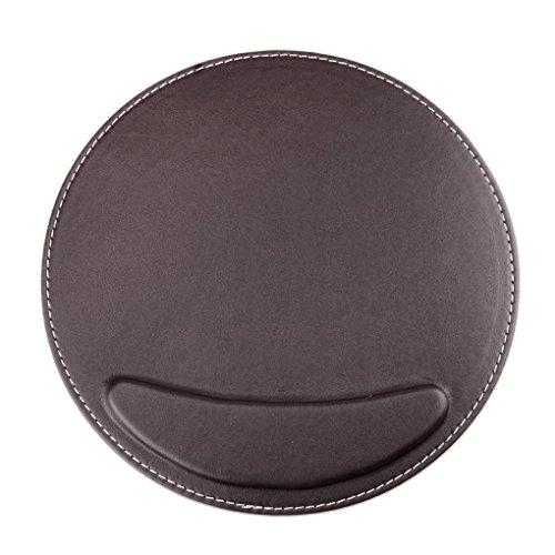 BXT® 3D Ergonomische PU-Leder Mauspad und Schwamm-Handgelenkauflage Komfortauflage Kreisförmig Mousepad Rutschfeste Unterseite Anti-Staub einfach zu reinigen