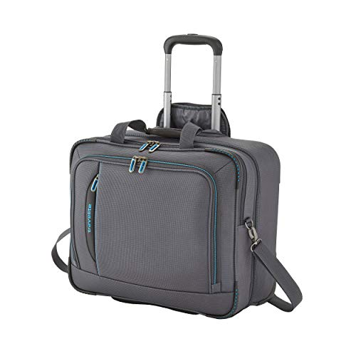 travelite 2-Rad Weichgepäck Koffer Handgepäck erfüllt IATA Bordgepäck Maß, mit Laptopfach bis 17 Zoll, Gepäck Serie CROSSLITE: Robuster Trolley im Business Look, 089506-04, 41 cm, 42 L, anthrazit