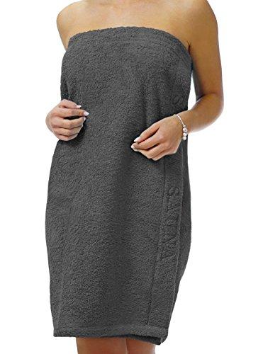 Wellness Saunatuch Uni schlingenfester Sarong-Saunakilt für die Dame, Farbe: grau mit Klettverschluss