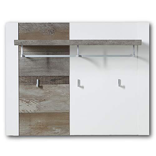 Stella Trading MATEO-Appendiabiti largo in bianco con effetto legno Driftwood-Moderno ripiano per cappelli e ganci da parete affidabili per giacche e borse, 90 x 70 x 29 cm