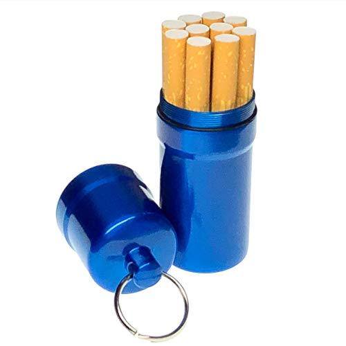 cobalt planet シガレットケース タバコ10本収納 携帯灰皿 防水 キーホルダー 合金 アウトドア 耐湿防圧 (ブルー)