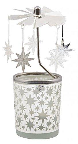 MaMeMi Windlicht,Glas, Karussell,Sterne,h15 cm