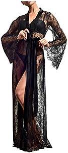 Amaeen Pijamas Mujer Sexy Conjuntos Baratos Nueva Bata de Tocador de Perspectiva Larga Y Pura Kimono de Boda Seductora Bata de Novia de Encaje hasta el Suelo de Moda