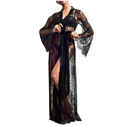 PANGCONK Nacht Robe Damen Kimono Morgenmantel Satin Kimono Robe Kurz Bademantel...