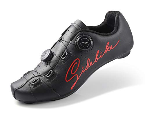 Road Cycling Shoes Men Road Bike Shoes Ultralight 540g self-Locking Bicycle Sneakers Professional Breathable 019 (RED, Numeric_7_Point_5)