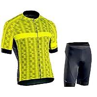 LILIS サイクルウェア ウェア サイクル メンズ サイクリング スーツ 半袖 サイクリング ウェア セット ジャージとパッド入りショーツ付きの乗馬スポーツウェア 夏に向けて快適な速乾性 (Color : Yellow3, Size : B(XS))