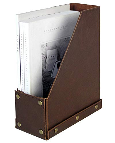 HofferRuffer Magazine Holder, Foldable Magazine Rack, PU Leather Desktop Organizer for Document File Folder, Great for Table, Reception Desk, Home or Office, Brown Faux Leather