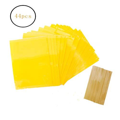 Allein 44Pcs Gelbsticker Gelbtafeln, Beidseitig Gelbtafeln Gewächshaus, Gelbe Fliegenfalle, Klebende Fliegenfalle, Gelb Fliegenfänger Sticker, Klebrige Insektenfallen und inkl. 90 Kabelbinder