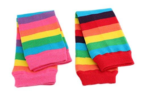 Colourful Baby World Fußstulpen für Baby/Kinder/Jungen/Mädchen, pink-rote Regenbogen-Fußstulpen, für 6Monate bis zu 8Jahren, 2 Stück