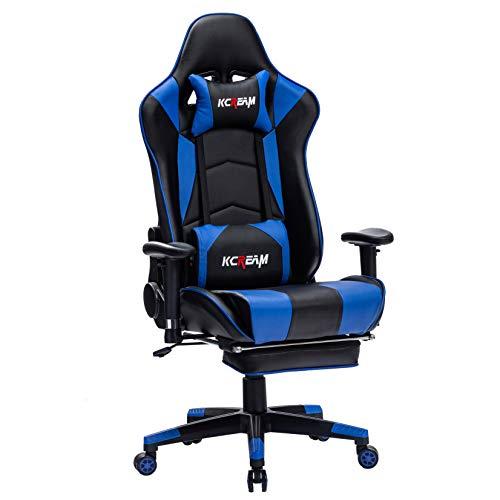 KCREAM Ergonomischer Gaming Stuhl - mit Verstellbares Massage Lendenkissen und Einziehbare Fußstütze, Hohe Rückenlehne Rennstil Bürostuhl, Sport Stuhl, Verstellbare Armlehne