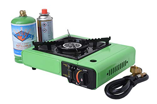 Flame King Portable Butane & Propane Gas Stove with Single Burner for Cooking, Black/Green