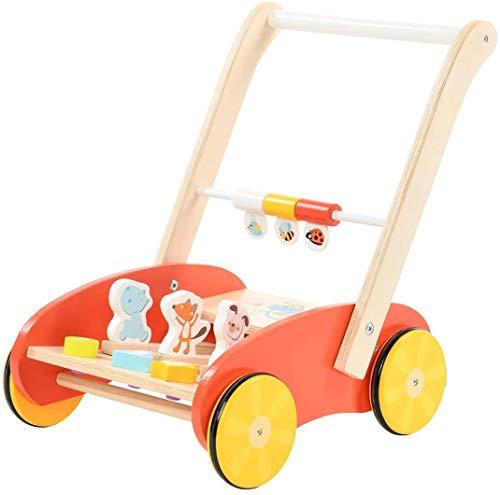 Labebe Paseador de bebé de madera divertido andador de bebé rojo con animales silla de paseo con actividad de hipopótamo zorro con ruedas durante 1-3 años