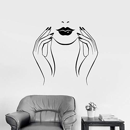 yaonuli Mooie vrouw muursticker manicure nagellak schoonheidssalon decoratie vinyl sticker muurschildering