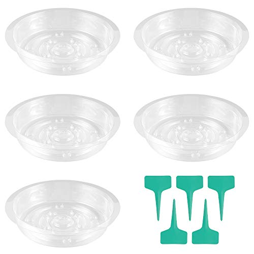 ATopoler 8 Inch Clear Plant Saucers with 10Pcs Plant Labels 10Pcs Garden Plant Saucers Drip Trays Plastic Plant Saucers Set for Holding Succulent Flower Planter Pot Indoor Outdoor Gardening