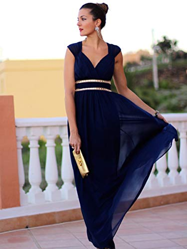 Ever-Pretty Womens Long Sleeveless Beaded Empire Waist Mother of The Bride Dress 10 US Navy Blue