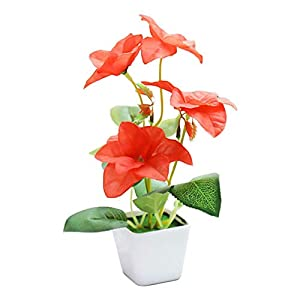 Daliuing Artificial Greenery Decor Red Bougainvillea Decorative Botanical Greenery Simulation Plant Potted for Office Home Decor 20 ×7×8Cm Silk Flower