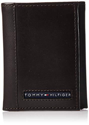 Tommy Hilfiger Carteira masculina de couro genuíno com janela para identidade, bolsos para cartão de crédito, Marrom, tamanho nico