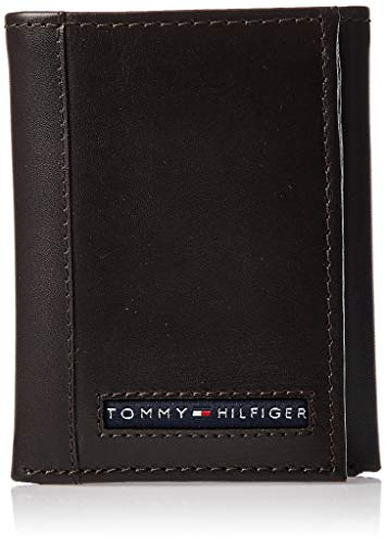 Tommy Hilfiger Men's Leather Cambridge Trifold Wallet,Brown,
