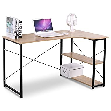 WOLTU L Shaped Computer Desk Solid Wood Book Table with 3 Tier Tower Shelves for Home Storage