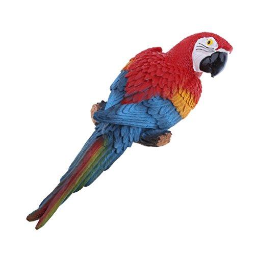 Baoblaze Künstliche Papagei Gartenfigur Wellensittich Vogel Zaun Baum Balkon Garten Deko - richtig rot, 31cm