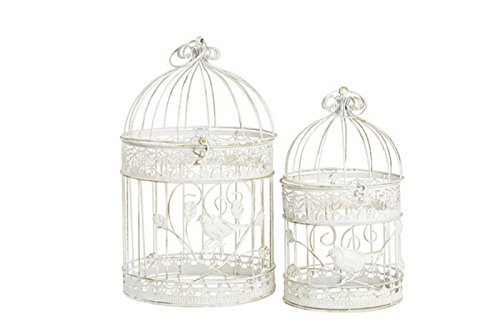 MAXIOCCASIONI Set de 2 Cages en Fer Blanc