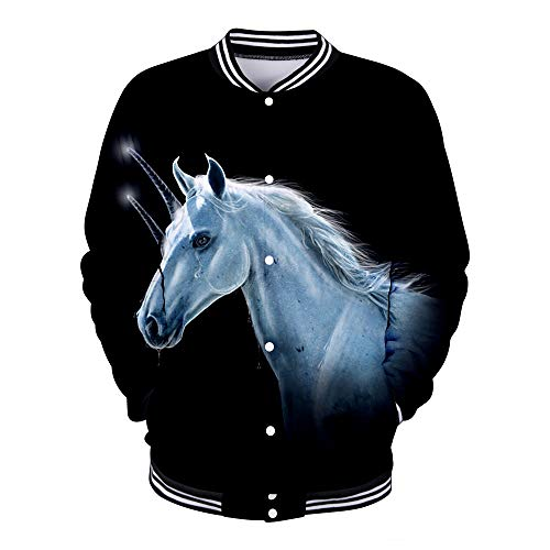 WQWQ Herren Unicorn Bomberjacke 3D Animal Print Jacke Herren Rundhals Fashion Rollenspiel Sweatshirt XL XXL,A,L