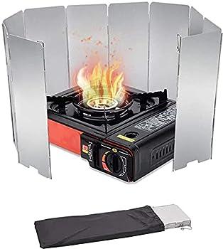 Lot de 10 pare-vent pliable en aluminium - Portable - Pour camping - Réchaud à gaz - Pare-vent - Pour réchaud à gaz - Avec