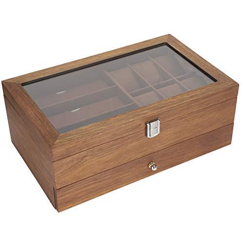 Organizador de relojes, caja de reloj resistente a la corrosión, madera maciza para gafas de relojes