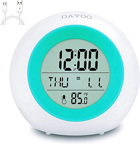 Kids Alarm Clock, Newest Version with Rechargeable Lithium Battery, 7 Color Changing Night Light, Snooze, Touch Control, Temperature for Children Bedroom, Digital Clock for Kids Girls Boys Gifts