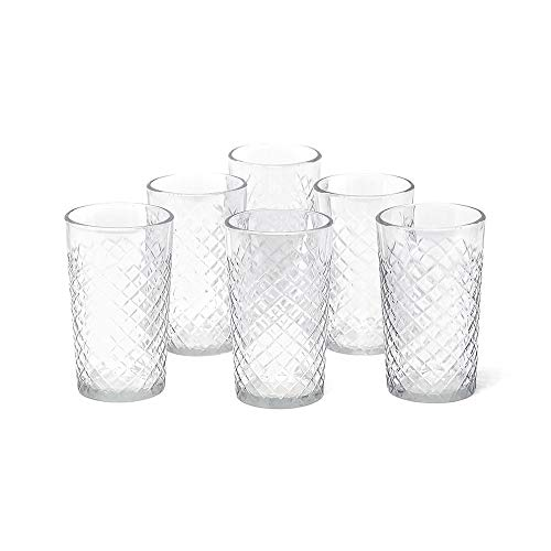 Serene Spaces Living Set of 6 Cut Glass Squares Votive Holder, Ideal for Weddings, Events, Home Decor, Measures 2.5' Diameter x 4.5' Height