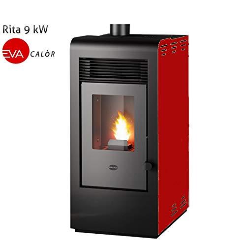 Eva Calor Rita - Estufa de pellets (9 kW), Color Rojo