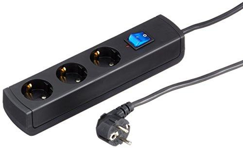 Kopp 233105008 UNOversal plus Steckdosenleiste 3-fach mit Geräteschutz-Überspannungsschutz, IP20, 3600 W, 250 V, Schwarz, 1.4 m Zuleitung