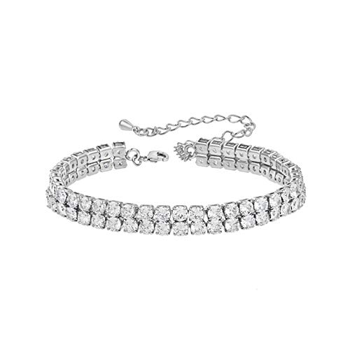XHJLNNY XINHEJULN 2 Rows Round Cubic Zirconia Crystal Tennis Bracelet 17cm+5cm Wedding Bridal Jewelry Fashionable, elegant and durable (Color : Platinum Plated)