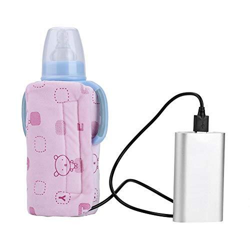 Calentador de biberones, USB Taza portátil de viaje Calentador de la leche Calentador Calentador eléctrico Bolsa con aislamiento para biberones para viajes al aire libre(Rosa)