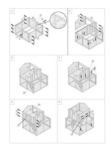 dobar 23033FSC Großer dekorativer Hühnerstall oder Kleintierstall XL mit Freigehege, Pflanzkasten und Legebox, 126 x 128 x 143 cm, weiß-braun-schwarz - 18