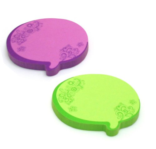 Redi-Tag Thought Bubble Notes 2 Pads, 3 x 3 Inches, Neon Green/Purple (22102)