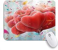 PATINISAマウスパッド 赤いハートのバルーンの愛をテーマにしたバレンタインデーハート形のお祝いのお祝い ゲーミング オフィ良い 滑り止めゴム底 ゲーミングなど適用 マウス 用ノートブックコンピュータ
