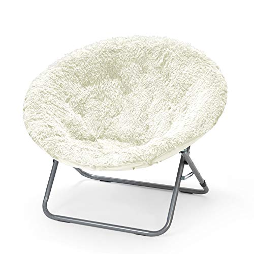 Urban Shop Oversized Mongolian Faux Fur Saucer Chair, White