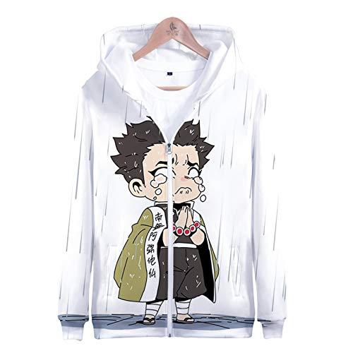 PLMNK Ghost Blade 3D Dibujos Animados animación Cremallera suéter con Capucha cómodo Sudor Transpirable suéter Casual L